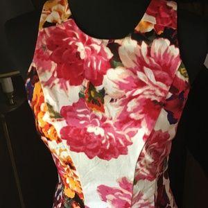 Maggy London Cotton Pink Floral Print Summer Dress
